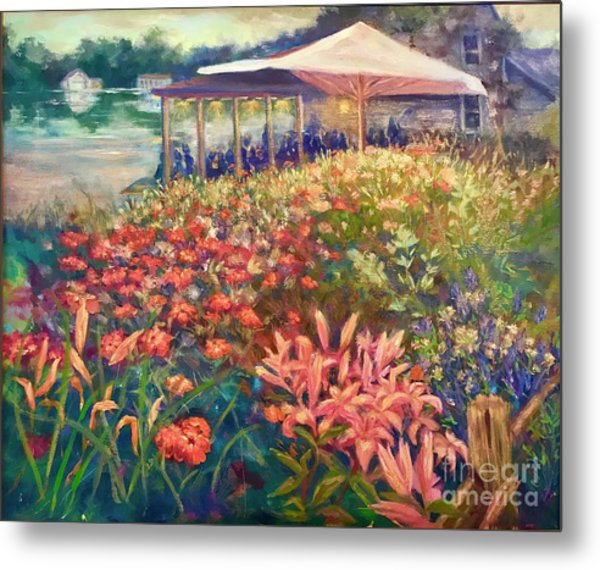Ogunquit Gardens At Waterside Restaurant Metal Print