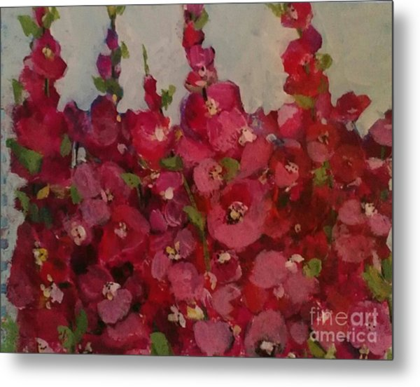 Oh My Hollyhocks Metal Print