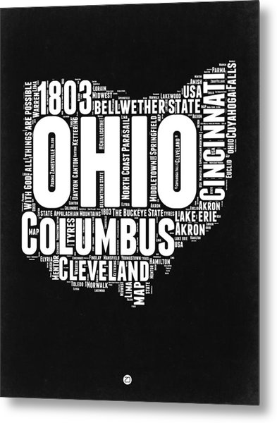 Ohio Black And White Word Cloud Map Metal Print