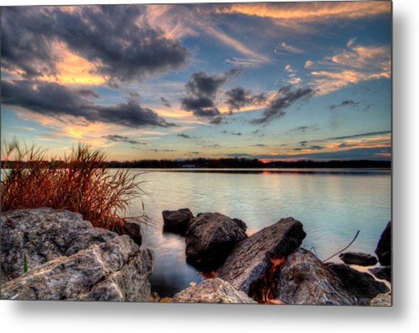 Ohio Fall Sunset Metal Print