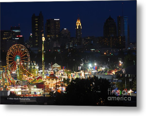 D3l-464 Ohio State Fair With Columbus Skyline Metal Print