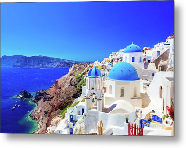 Oia Town On Santorini Island, Greece. Caldera On Aegean Sea. Metal Print
