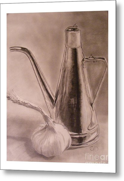 Oil Container And Garlic Metal Print by Crispin  Delgado