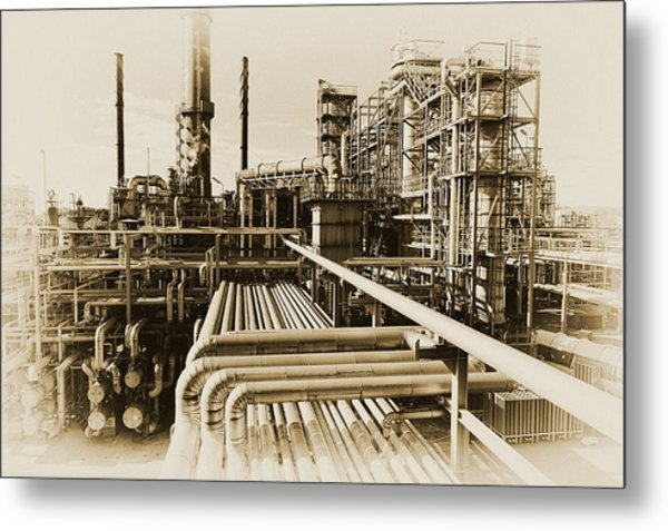Oil Refinery In Old Vintage Processing Concept Metal Print