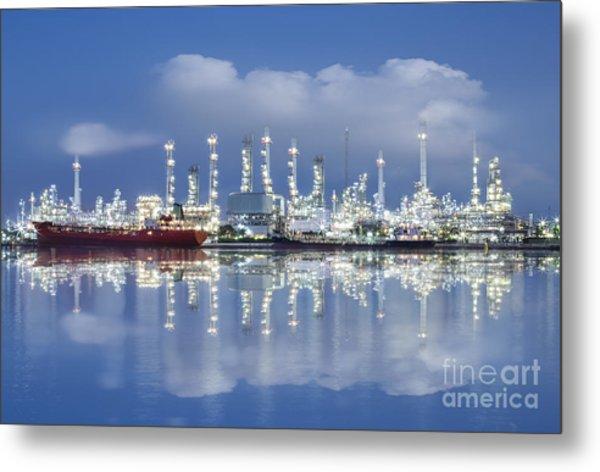 Oil Refinery Industry Plant Metal Print