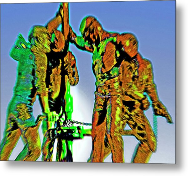 Oil Rig Workers 4 Metal Print by Steve Ohlsen