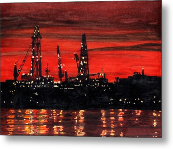 Oil Rigs Night Construction Portland Harbor Metal Print