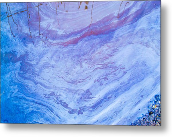 Oil Spill On Water Abstract Metal Print