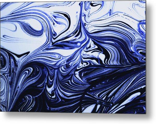 Oil Swirl Blue Droplets Abstract I Metal Print