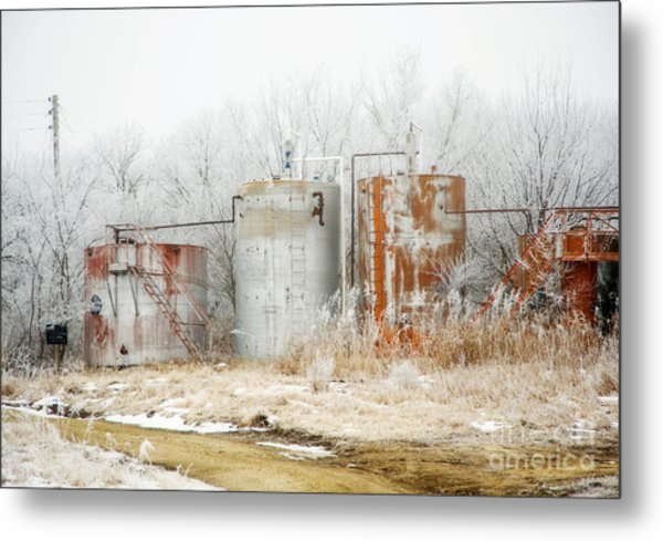 Oil Tank Farm Metal Print by Fred Lassmann