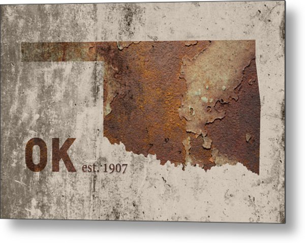 Oklahoma State Map Industrial Rusted Metal On Cement Wall With Founding Date Series 003 Metal Print
