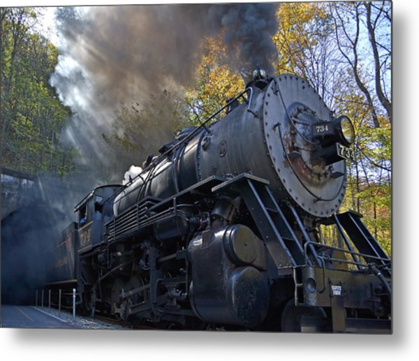 Old 734 Locomotive Train On The Western Maryland Scenic Railroad Metal Print