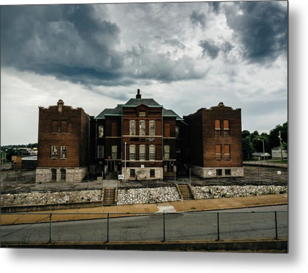 Old Abandoned School And Stormy Skies Metal Print by Dylan Murphy