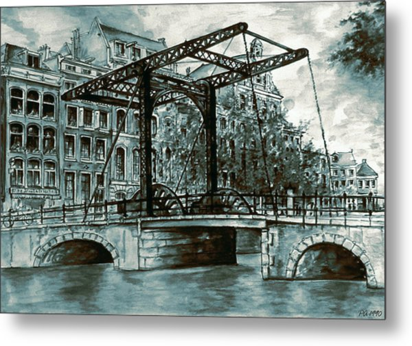 Old Amsterdam Bridge In Dutch Blue Water Colors Metal Print