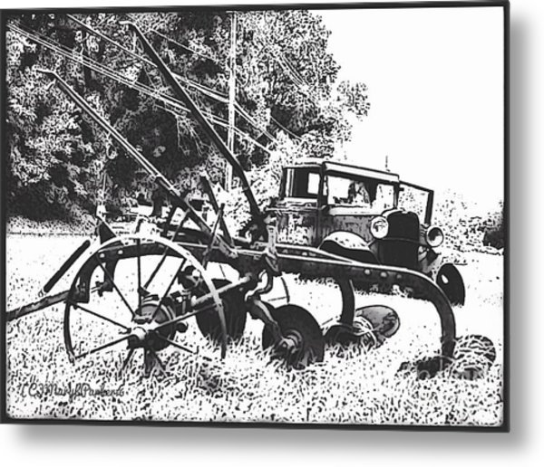 Old And Rusty In Black White Metal Print