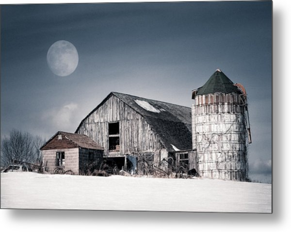 Old Barn And Winter Moon - Snowy Rustic Landscape Metal Print