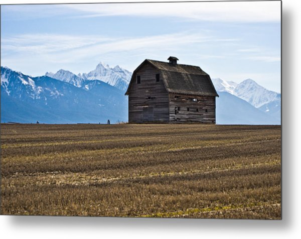 Old Barn, Mission Mountains 2 Metal Print