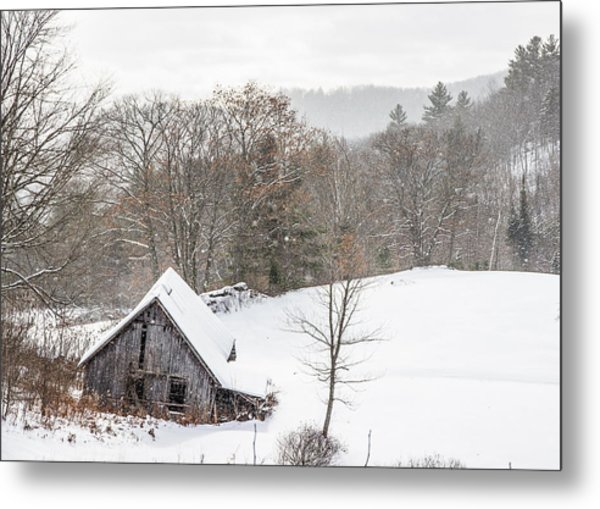 Old Barn On A Winter Day Wide View Metal Print