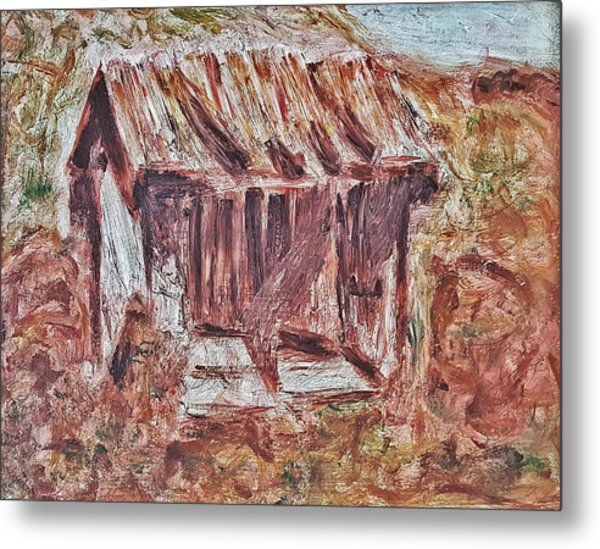 Old Barn Outhouse Falling Apart In Decay And Dilapidation Rotting Wood Overgrown Mountain Valley Sce Metal Print