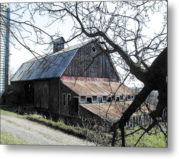 Old Barn With Tree Watercolor Metal Print by Laurie With