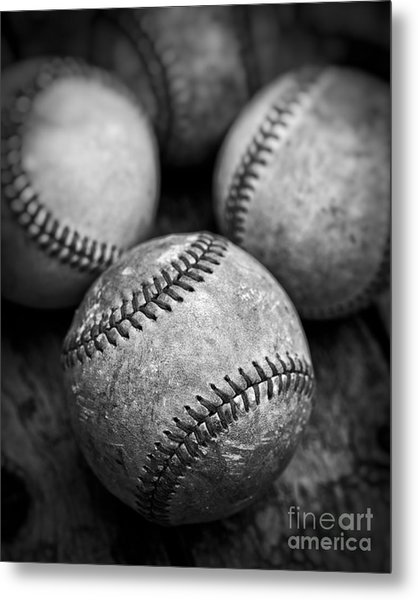 Metal Print featuring the photograph Old Baseballs In Black And White by Edward Fielding