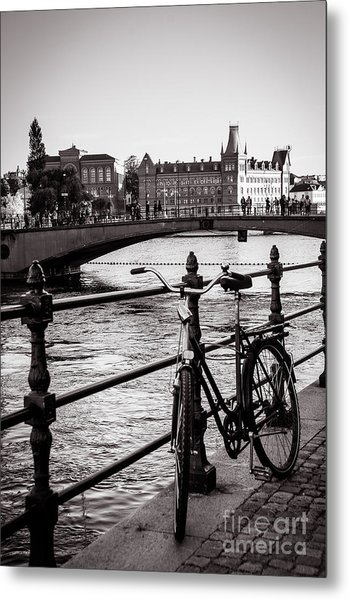 Old Bicycle In Central Stockholm Metal Print