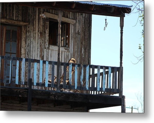 Old Blue Balcony Metal Print