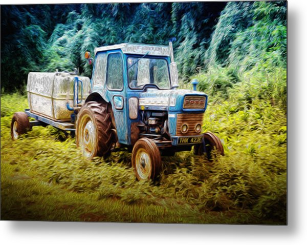 Old Blue Ford Tractor Metal Print