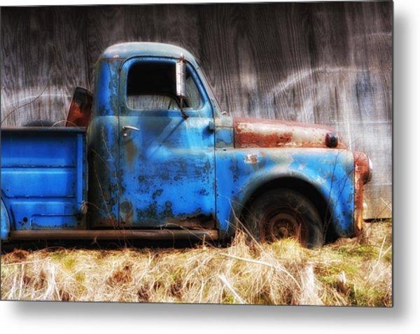 Old Blue Truck Metal Print