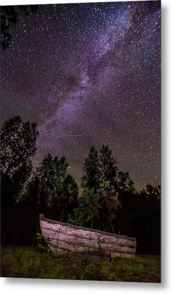 Old Boat Under The Stars Metal Print