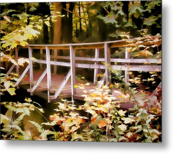 Old Bridge In The Woods In Color Metal Print