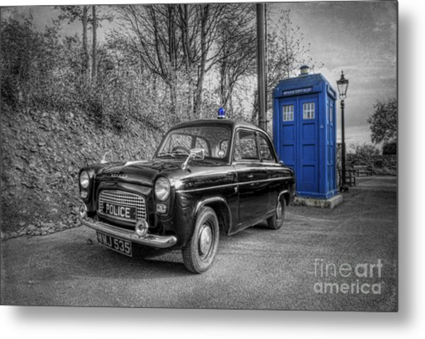 Old British Police Car And Tardis Metal Print