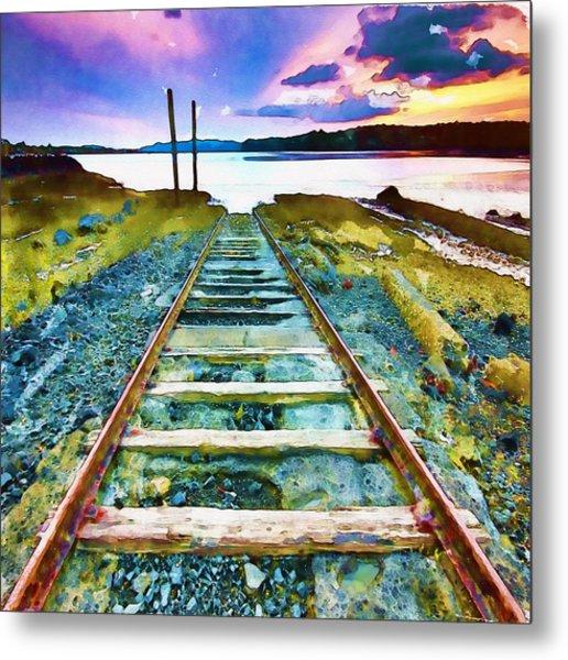 Old Broken Railway Track Watercolor Metal Print