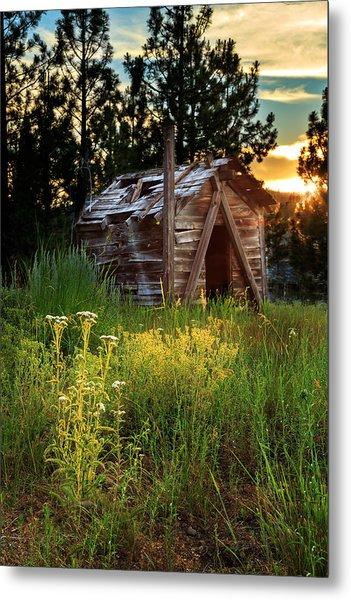 Old Cabin At Sunset Metal Print