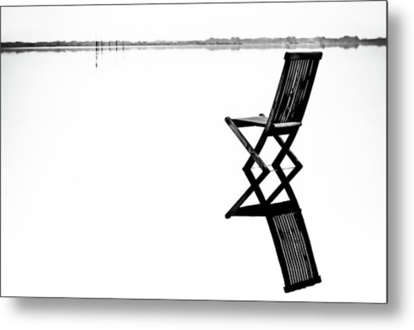 Old Chair In Calm Water Metal Print