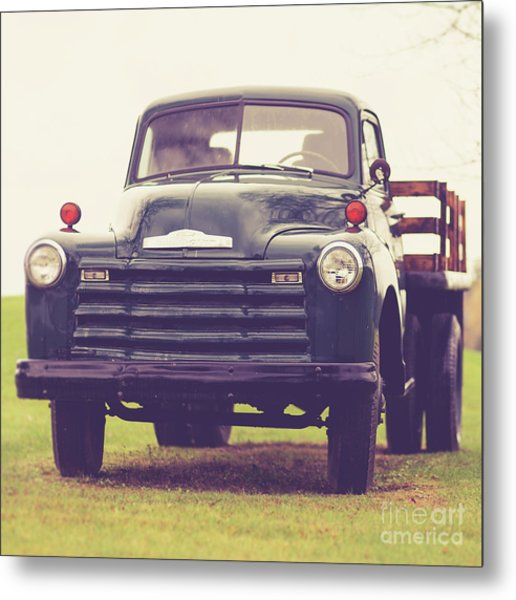 Metal Print featuring the photograph Old Chevy Farm Truck In Vermont Square by Edward Fielding