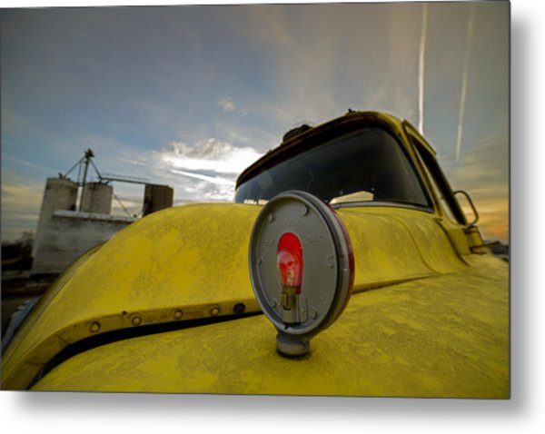 Old Chevy Truck With Grain Elevators In The Background Metal Print