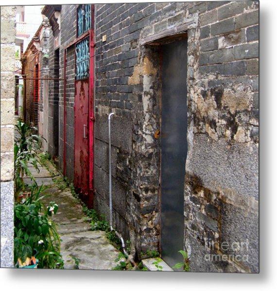 Old Chinese Village Narrow Walkway Metal Print by Kathy Daxon