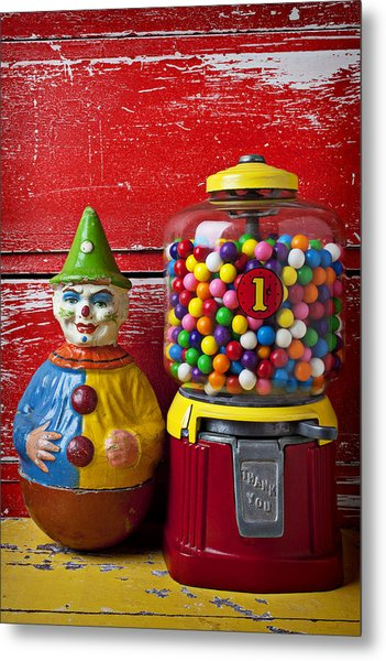 Old Clown Toy And Gum Machine  Metal Print