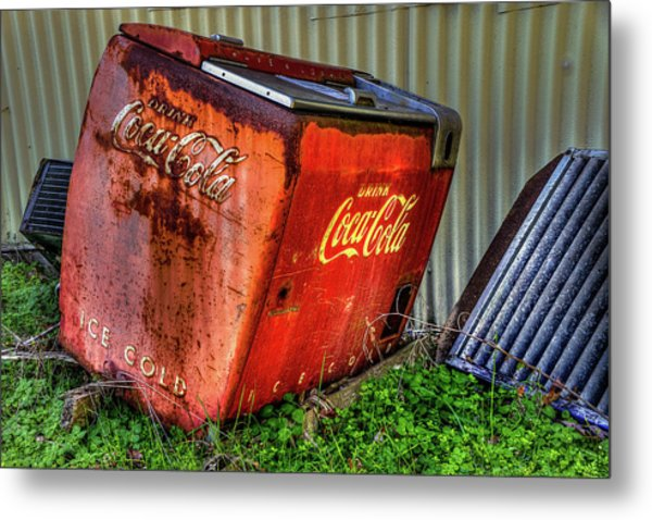Old Coke Box Metal Print