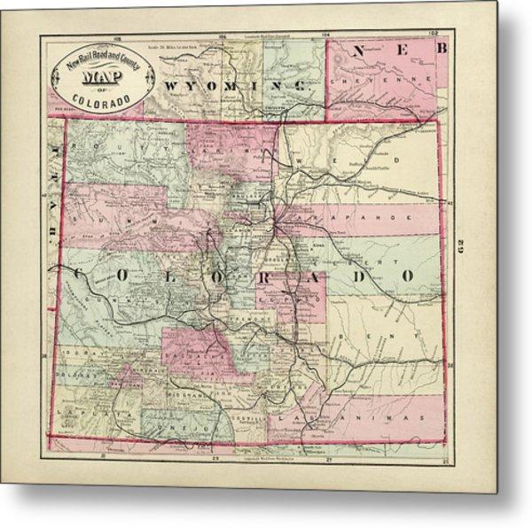 Old Colorado Map By George Franklin Cram - 1882 Metal Print