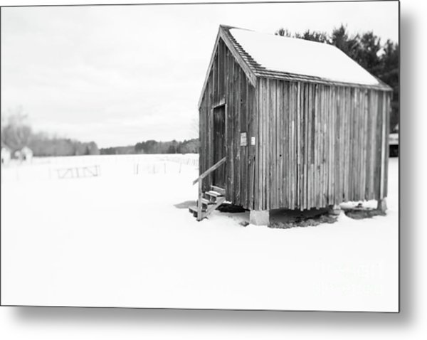 Metal Print featuring the photograph Old Corn Crib Muster Field Farm Winter by Edward Fielding