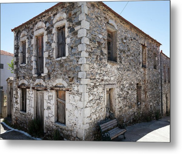 Old Deserted Village House In Greece Metal Print by Al Poullis