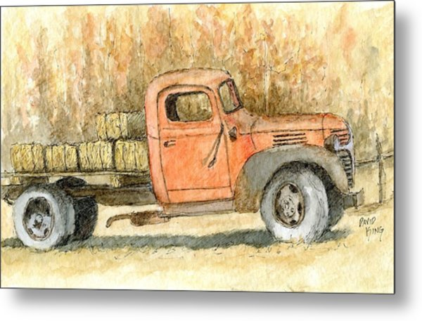 Old Dodge Truck In Autumn Metal Print