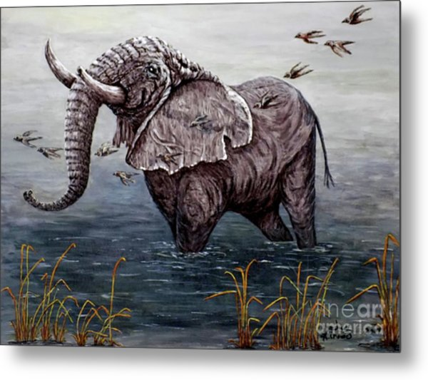 Old Elephant Metal Print