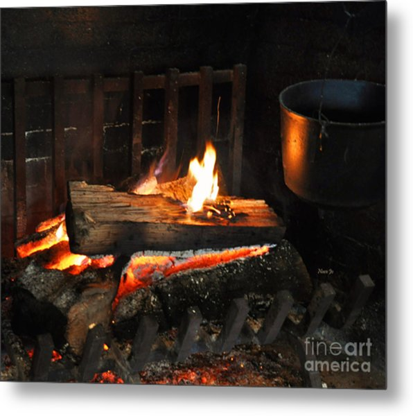 Old Fashioned Fireplace Metal Print