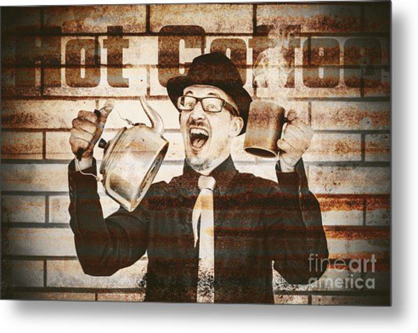 Old Fashioned Gent Cheering To Hot Coffee Metal Print
