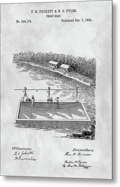Old Ferryboat Patent Metal Print