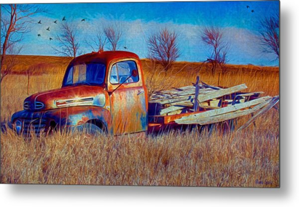Old Ford F5 Truck Abandoned In Field Metal Print