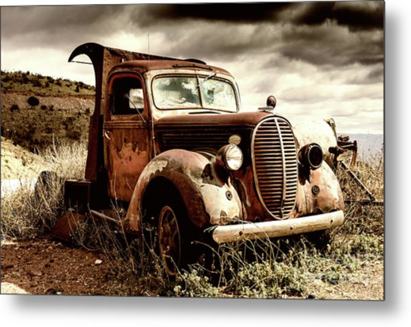 Old Ford Truck In Desert Metal Print